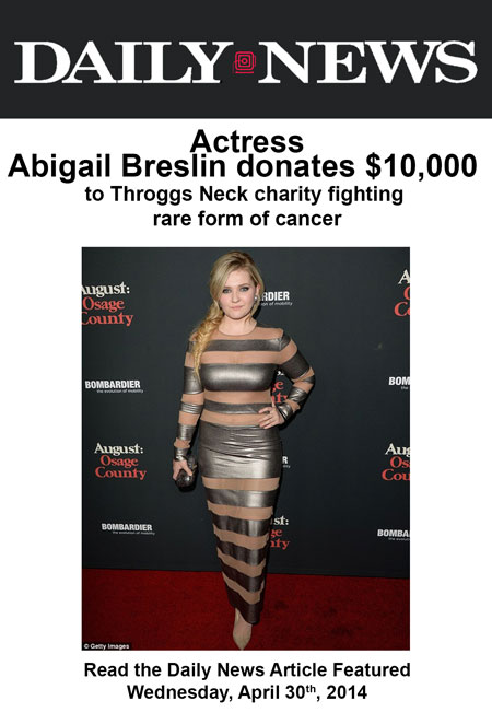 Oscar-Nominated Actress Abigail Breslin Donates $10,000 to the Cristian Rivera Foundation